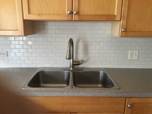 Subway Backsplash and Sink Kitchen Remodel